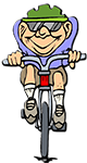 Cartoon man on bike